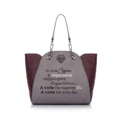 Shopper bicolor matelassè Le Pandorine autunno inverno 2017