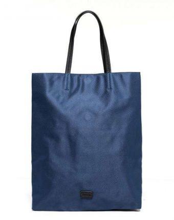 Shopper blu in tessuto Benetton borse autunno inverno 2017