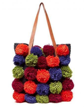Shopper con pom pom multicolor Benetton borse autunno inverno 2017