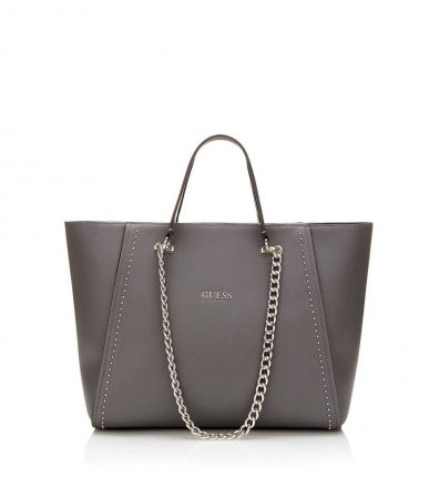 Shopper grigio scuro con catene oro Guess autunno inverno 2017