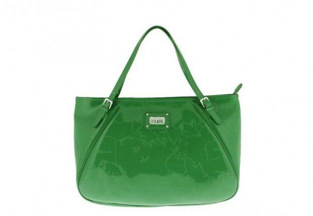 Shopper in vernice verde Alviero Martini 1a classe
