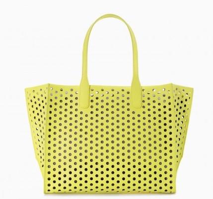 Shopper laser cut gialla borse Zara autunno inverno 2014 2015