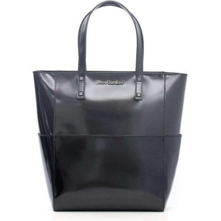 Shopper nera in vernice Nero Giardini autunno inverno 2017