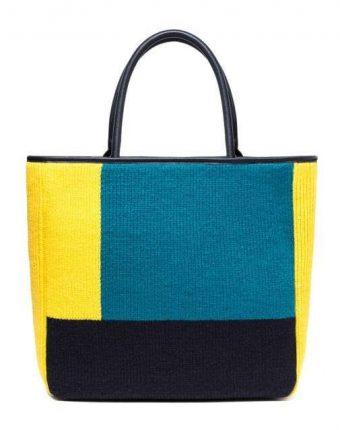 Shopper rigida color block in giallo e turchese Benetton borse autunno inverno 2017