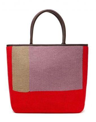 Shopper rigida in tessuto color block Benetton borse autunno inverno 2017