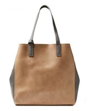 Shopping bag in tortora e grigio Benetton borse autunno inverno 2017
