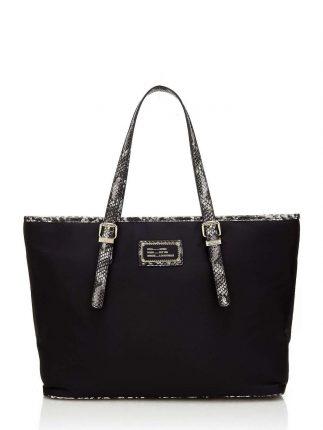 Shopping bag nera con inserti pitone Guess autunno inverno 2017