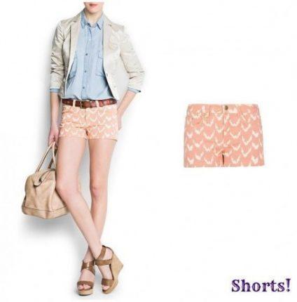 Shorts rosa stampato Mango primavera estate 2013