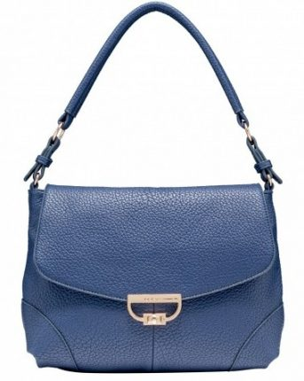 Shoulder bag in pelle blu Caleidos