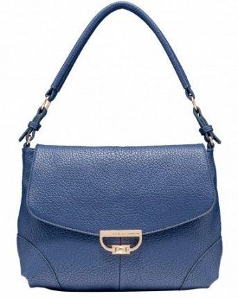 Shoulder bag in pelle blu Caleidos