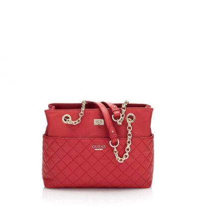 Shoulder bag rossa matelassè con catene oro Guess autunno inverno 2017