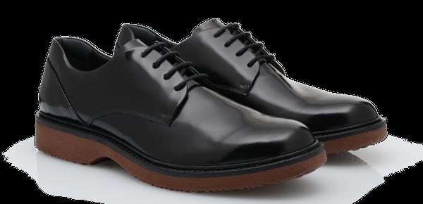 Stringata in lucida pelle spazzolata scarpe Hogan autunno inverno