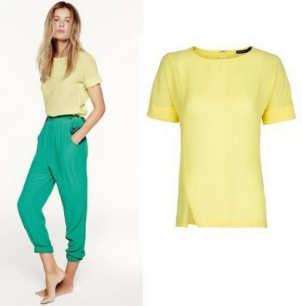 T-shirt gialla e pantalone verde smeraldo Mango primavera estate 2013