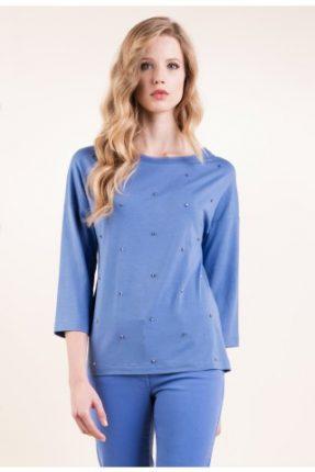 T-shirt in jersey ricamata con inserti in georgette Luisa Spagnoli primavera estate
