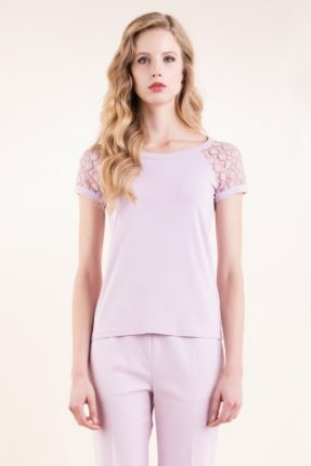 T-shirt in jersey viscosa stretch con inserti in pizzo Luisa Spagnoli primavera estate
