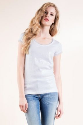 T-shirt in jersey viscosa stretch con ricamo in paillett Luisa Spagnoli primavera estate