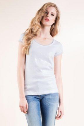 T-shirt in jersey viscosa stretch con ricamo in paillett Luisa Spagnoli primavera estate