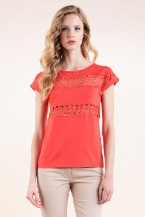 T-shirt in viscosa stretch con inserto in pizzo macreme Luisa Spagnoli primavera estate