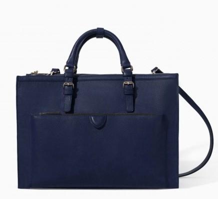 Tote blu scuro Zara borse autunno inverno 2015