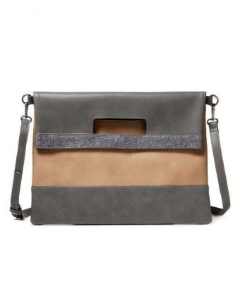 Tracolla color block in grigio e taupe Benetton borse autunno inverno 2017