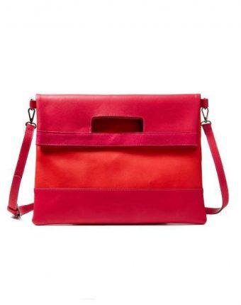Tracolla color block in rosso e fucsia Benetton borse autunno inverno 2017