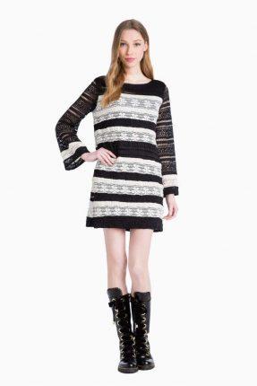 Twin Set Simona Barbieri autunno inverno 2017 vestito ricamato bicolor