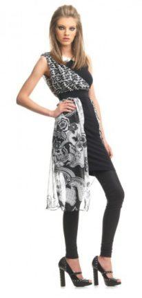 Vestito con stampa grafica bianca e nera Fornarina primavera estate 2013