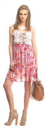 Vestito corto panna e rosa con fiori Fornarina primavera estate 2013