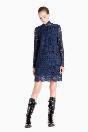 Vestito in pizzo blu Twin Set Simona Barbieri autunno inverno 2017