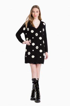 Vestito nero in maglia Twin Set Simona Barbieri autunno inverno 2017
