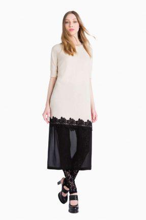 Vestito panna e nero Twin Set Simona Barbieri autunno inverno 2017