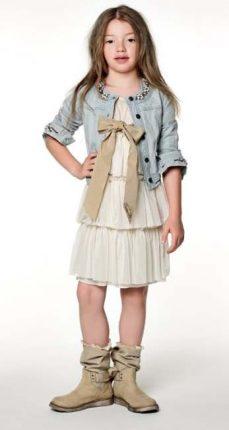 Vestito rouches e giacchino denim Twin Set bambini primavera estate 2013