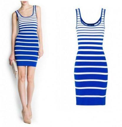 Vestito tubino a righe bianche e blu Mango primavera estate 2013