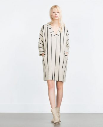 Zara primavera estate 2016 abito a righe con tasche