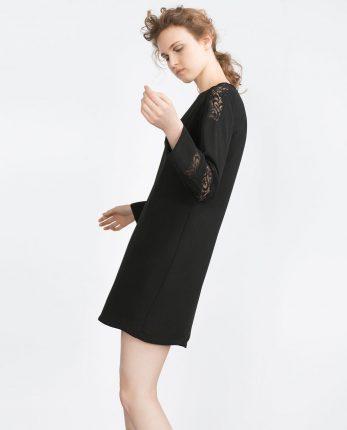 Zara primavera estate 2016 abito diritto con inserti in pizzo