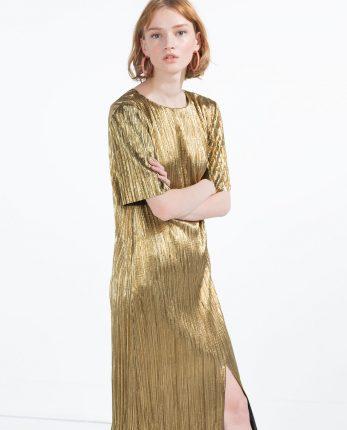 Zara primavera estate 2016 abito dorato