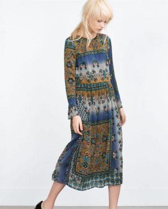 Zara primavera estate 2016 abito lungo fantasia