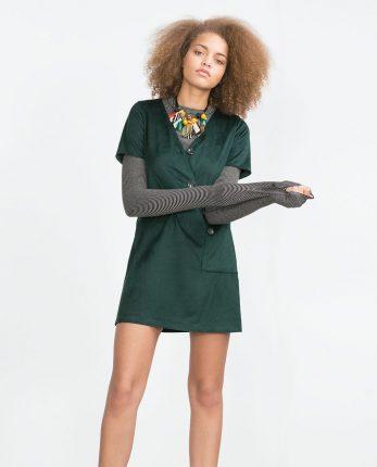 Zara primavera estate 2016 abito verde manica corta