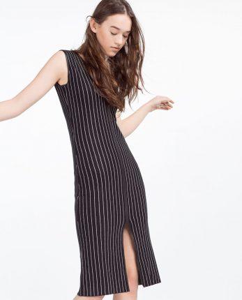 Zara primavera estate 2016 vestito a righe con spacco