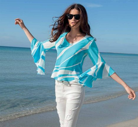 Blusa Azzurra E Bianca Con Maniche A Volants NaraCamicie