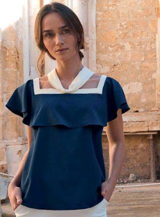 Blusa Blu Con Collo Quadrato E Volants NaraCamicie