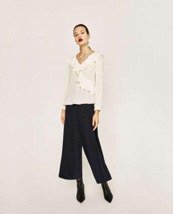 Blusa Con Rouches Zara
