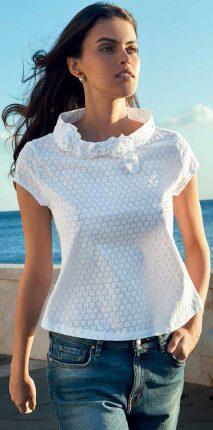 Camicia Bianca Con Collo Ad Anello NaraCamicie