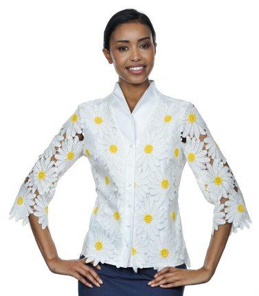 Camicia Bianca Con Margherite In Pizzo NaraCamicie