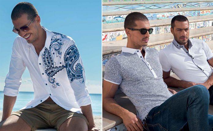 Camicia Bianca Con Ricamo Paisley Blu Polo A Quadretti E Camicia Con Profili A Contrasto NaraCamicie