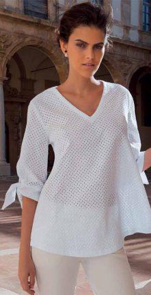 Camicia Bianca Larga Con Fiocchi Sulle Maniche NaraCamicie