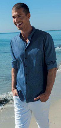 Camicia Blu Con Collo A Listino NaraCamicie