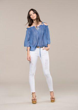 Camicia Blu Con Lacci Koralline
