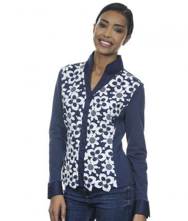 Camicia Blu Con Plastron In Pizzo Ricamato Fiorato NaraCamicie