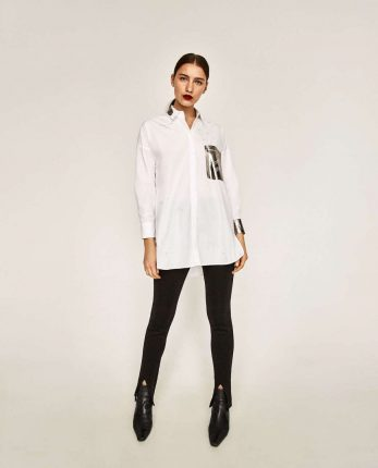 Camicia Con Dettagli Laminati Di Zara